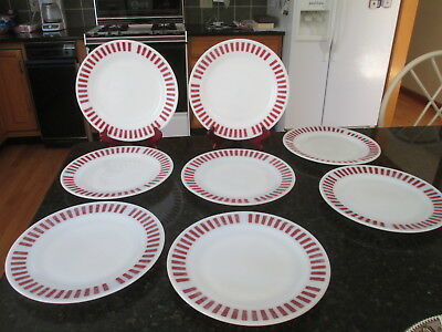 "8 Hazel Atlas Candy Stripe Red Dinner Plates 9""                   HTF"
