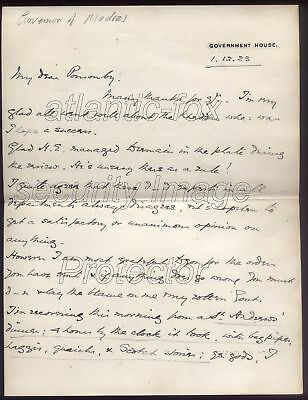 1923 INDIA Lord Willingdon. Governor of Madras, letter to Frederick Ponsonby