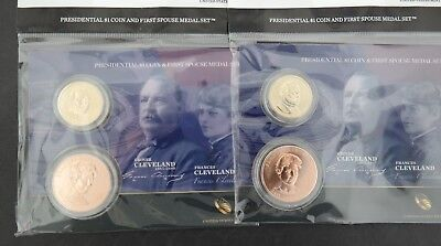 United States Mint Presidential $1 Coin & First Spouse Medal Set - Cleveland