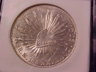 MEXICO 8 REALES SILVER CROWN 1885-Mo M.H. AU NGC TARRANT COUNTY TX BURIED SILVER