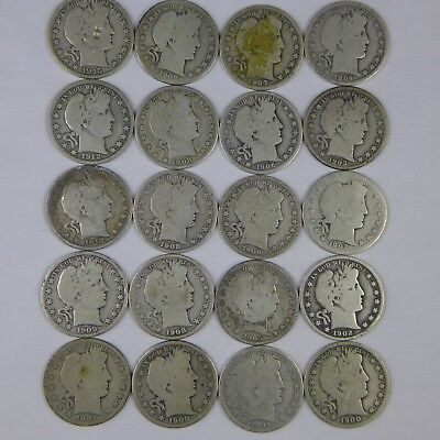 Roll- 20 Different Date Barber Halves Circulated/Culls w/at least 1 1800's coin