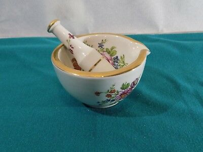 """French Procelain 4 1/8"""" Mortar and Pestle Marked  ( Pre 1930)  Beautiful!!! L@@K"""