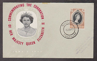 Swaziland - 1953 1st day cacheted Coronation cover mailed to England