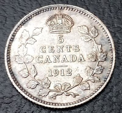 1912 Canada Nickel - 5 Cents - 92.5% Silver -  KGV Coin - Nice Details