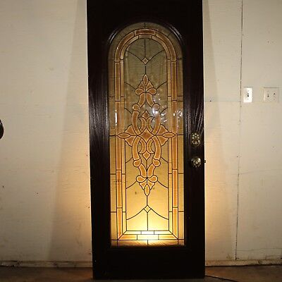 """Full Lite STAINED GLASS Entry Door 32"""" x 79"""" x 1.75"""" Antique Style + Hardware"""