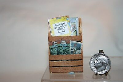 Miniature Dollhouse Maps & World Atlas in Wood Wall Rack Gas Station/Gen'l Store