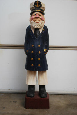 """LARGE Hand Carved Wood / Wooden Sea Captain Totem 40"""" Tall Display VTG Nautial"""