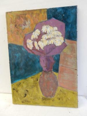 really old PAINTING oil canvas FLORAL flowers