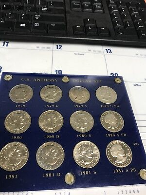 1979-1981 12 Coin Set Susan B Anthony Dollars & Proof Coins