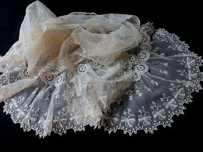 """Beautiful 90"""" Long Antique Embroidered Lace Bridal Stole Scarf Shawl Vintage"""