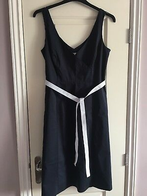 Ladies NEXT dress Size 14 Navy With White Ribbon Belt Cocktail