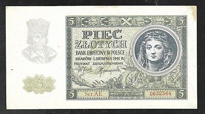 Poland - Old 5 Zlotych note - 1941 - P101 - AU/Unc.