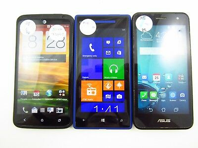 Lot of 3 HTC Windows Phone 8X PM23300 ATT Check IMEI Grade B/C/PR 3-257