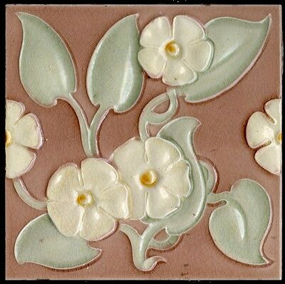 4 colors Original period antique 6x6 Art Nouveau Majolica tile