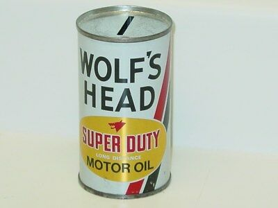 Vintage Wolf's Head Super Duty Motor Oil Coin Bank Can