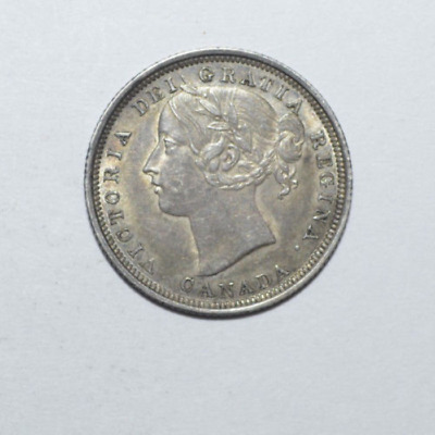 1858 Canada Silver 20 Twenty Cent Piece Au-Unc.cat. Price 1200.00