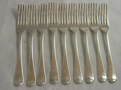 Eley Fearn Georgian Set 9 1815 Old English Silver Dinner Forks 591 grams Crest