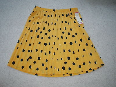 Ms Russ Yellow and Navy Blue Polka Dot Pleated Vintage Skirt Size 26W NWT NOS