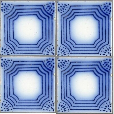Set of 4 PAS CALAIS French original period Desvres antique tile 1890 COBALT BLUE