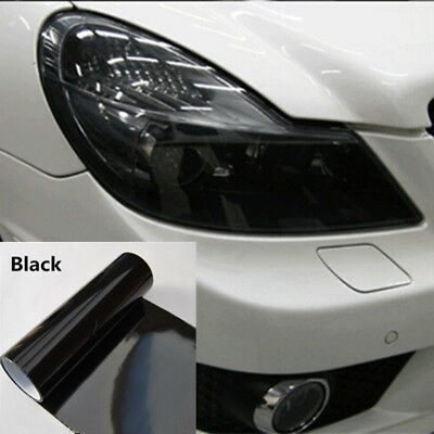 "Dark Black Smoke Vinyl Film Tint 12"" x 48"" Headlight Taillight Fog Wrap Cover"
