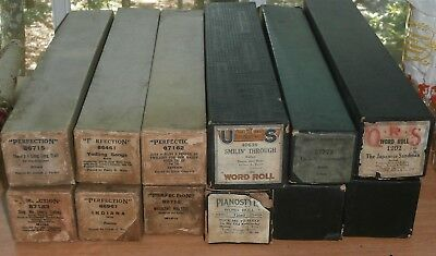 Lot of 12 Vintage Player Piano Rolls Early 1900's In Boxes