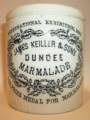 Antique Dundee Marmalade Jar Crock Stoneware James Keiller Sons Maling Pottery