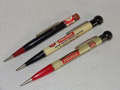 3 Vintage Advertising Gas And Oil Mechanical Pencils Phillips 66 And Kendall