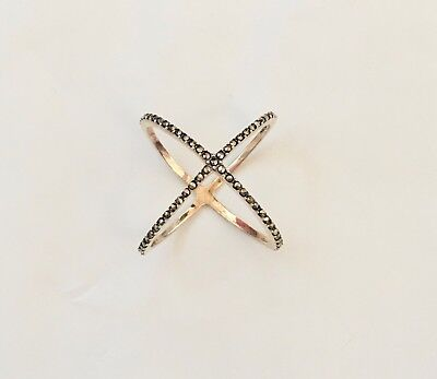 NEW Thai Sterling Signed Gold-Plated Black CZ Crystal X Criss-Cross Ring 8