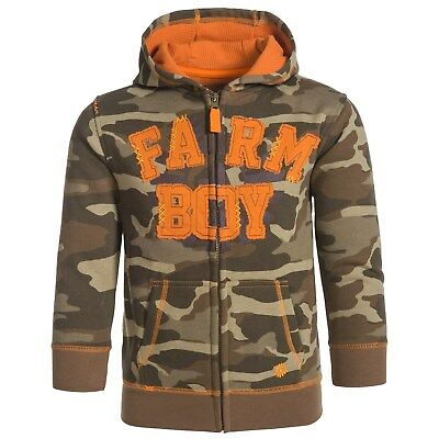 Farm Boy Camo Camoflauge & Orange Infant Full Zip Hoodie Jacket 3T NEW WITH TAGS