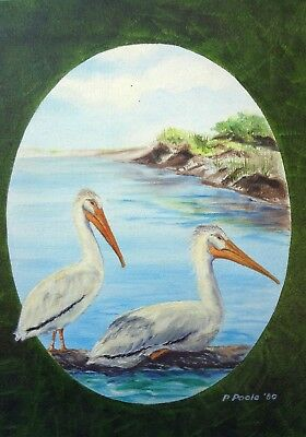 PELICAN BIRDS ORIGINAL OIL ON CANVAS 9 x 12 Unframed ByPatricia Poole 1980