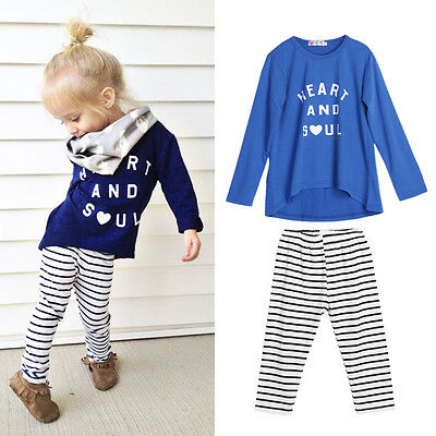 2pc Toddler Kids Baby Girls Outfits Cotton T-shirt Tops+stripe pants Clothes Set