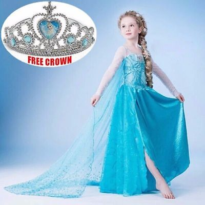 HOT Kids Girls Elsa Frozen Dress Costume Princess Anna Party Dresses Cosplay US