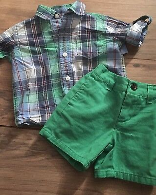 Janie And Jack Boys Outfit Size 3-6 Months Shorts Button Up Shirt Green Blue