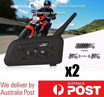 2X V6 1200M BT Motorcycle Helmet Interphone Bluetooth Intercom Headset 6 Riders