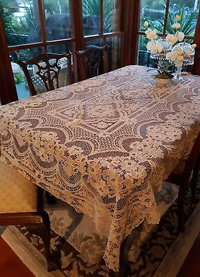 Antique Ecru Burano Italian Venice Point De Venise Table Cloth Needlelace 240 cm