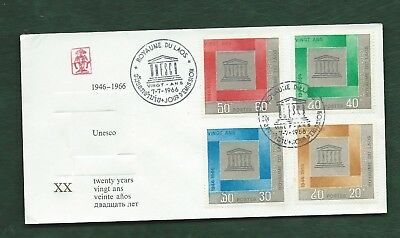 Kingdom of Laos 1966 UNESCO anniversary set on First Day Cover FDC
