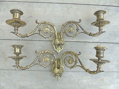 French Antique Piano Sconces Heavy Bronze Gilt Empire Style X2 Amazing Quality