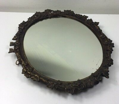 """Antique Bronzed Cast Iron Framed Wall Mirror - Leaves Design - 12"""" w by 14"""" h"""