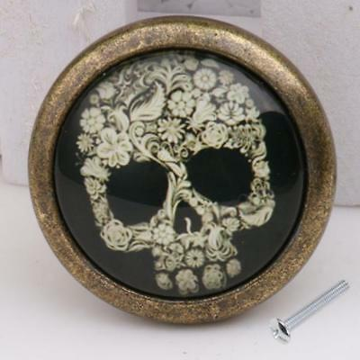 2pcs Skull Print Closet Door Drawer Cabinet Cupboard Pull Knobs Handle Decor