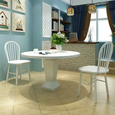vidaXL 2x Dining Chairs Wood White Round Kitchen Living Room Furniture Seats