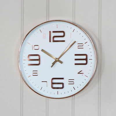 Round polished copper white wall clock modern wall mounted battery operated gift
