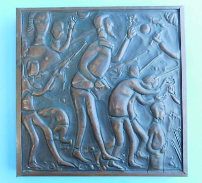 Extraordinary 1950s Modernist Embossed Repoussed Copper Wall plaque