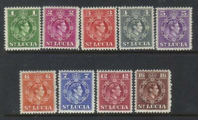 St Lucia 1949-1950 Defins 9 Mh Values