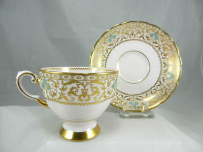 Fabulous  TUSCAN England   Gold Filigree & Turquoise on Pink Footed CUP & SAUCER