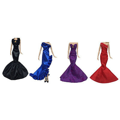 Fashion Ruffle Wedding Party Gown Mermaid Dress Clothes For  Doll Gift Fg
