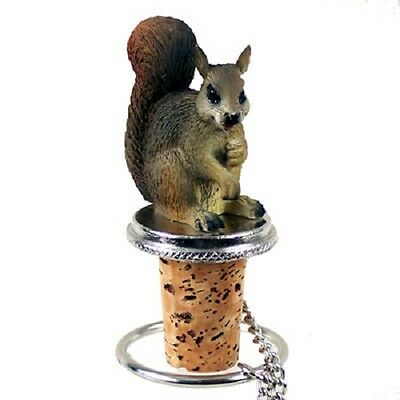 RED SQUIRREL Cork WINE BOTTLE STOPPER resin HAND PAINTED animal COLLECTIBLE new