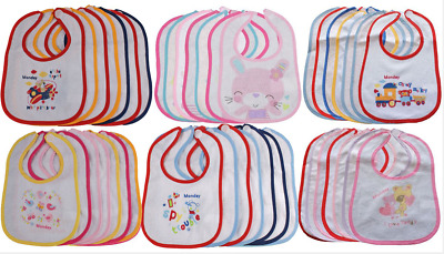 Baby BIBS 7 pack Days of the Week terry dribble feeding waterproof back