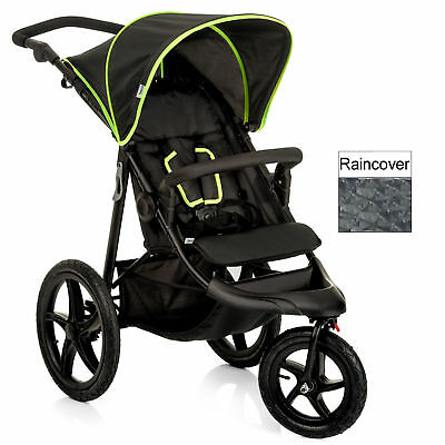 NEW Hauck Runner Air 3 Wheeler Pushchair Jogger Buggy in BLACK/YELLOW+Raincover