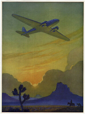 1930s Ruehl Heckman Racing the Sun Western Art Deco Aviation Age Print Very Fine