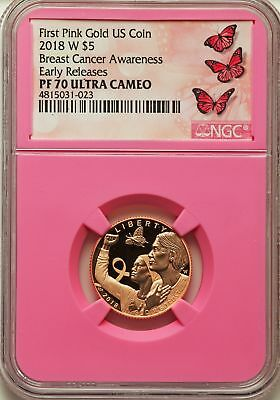 2018-W $5 Breast Cancer Awareness, First Pink Gold US Coin, NGC PF70 Ultra Cameo